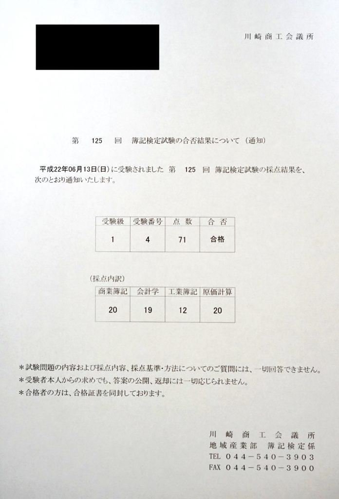 簿記1級の成績表
